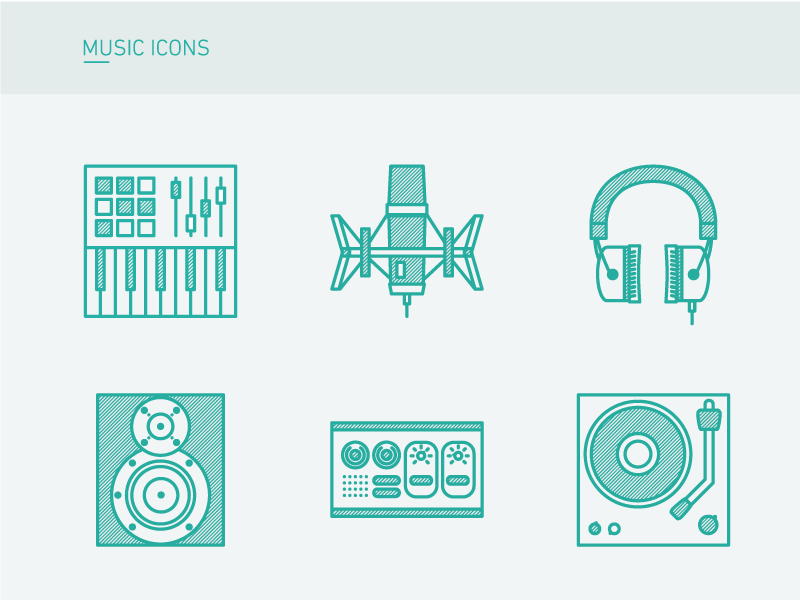 Music Icons midi controler headset microphone synth keyboard producer music icons ilustración ilustration digital