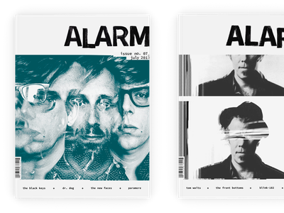 Alarm Magazine Covers glitch glitchy rock and roll rock music masthead handlettering black and white hand drawn type blackandwhite branding design typography editorial