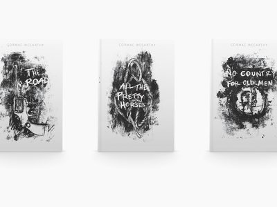Cormac McCarthy Book Covers movies the road scratch analog techniques book book cover design book covers analog illustration black and white hand drawn type typography design