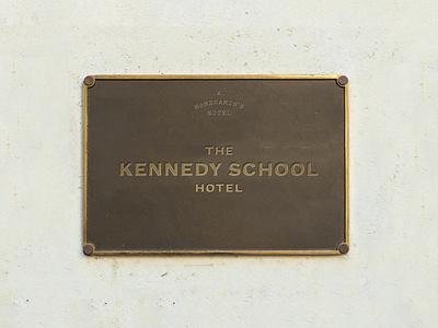 Kennedy School Hotel Branding retro vintage plaque signage pitch founders grotesk hotel hotel branding logo typography branding
