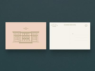 Kennedy School Hotel Branding color palette hotel branding architecture illustration branding print postcard