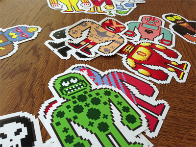 Luchadores Stickers illustration characters pixelart stickers crowdsourcing