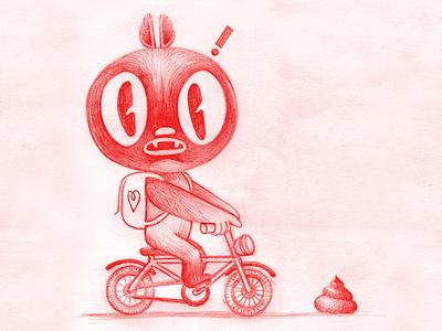 ֿStreet Obstacle illustration character design sketch drawing pencil sketchbook street poop bicycle backpack monster