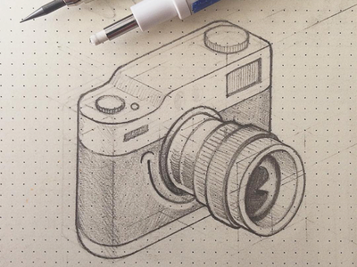 Camera character icon sketch icon lenc smile camera isometric character design drawing dotted paper sketch illustration