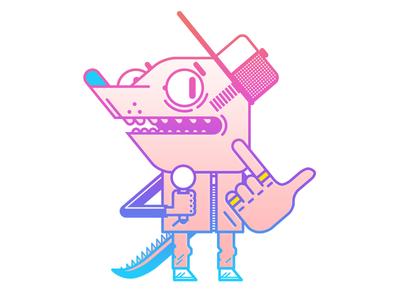 MC! icon line gradient sneakers adidas cap microphone hip hop vector illustrator character design illustration