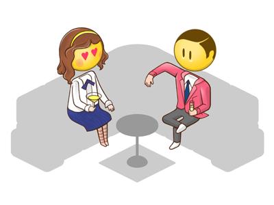 isometric avatars concept 2 illustration character smiley gossip girl