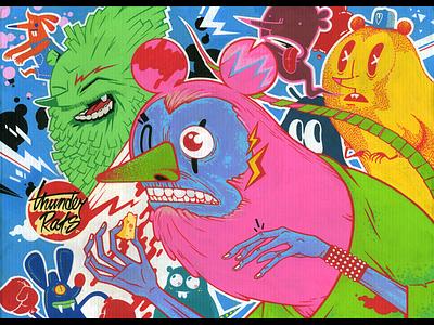 Thunder Rats cardboard acrylic markers posca molotow character illustration