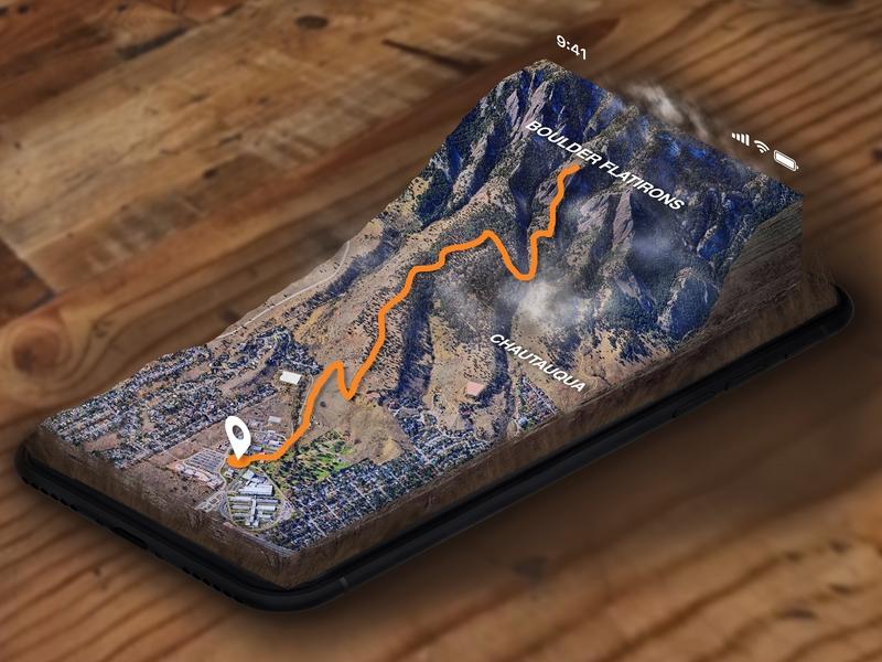 Hiking Mixed Reality App ui  ux design design ar app ux location navigation ar navigation virtual ui app mobile app photoshop hiker hiking mixedmedia virtual reality vr augmentedreality augmented mixed reality