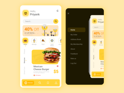 Online Food Ordering App recipe app food and drink product design ui branding yellow minimal clean mobile app design food illustration burger pizza ios app dribble best shot delivery app ordering app add to cart online food app app design