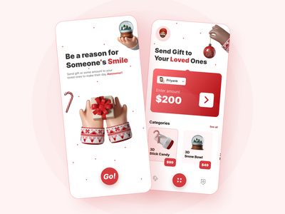 Online Gift and Payment App creative onboarding magical christmas gift app gift ecommerce app online shopping payment app flat design ux gradient animation minimal user interface illustration design ui branding app design