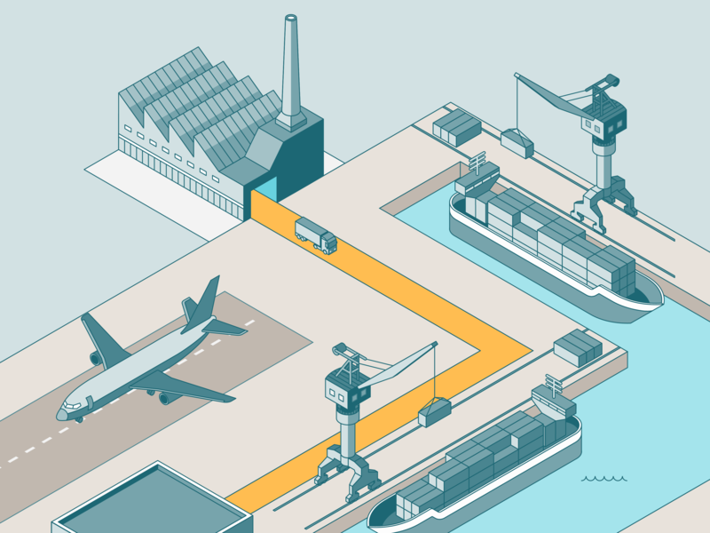 Supply Chain factory dock airport harbor transport logistics vector design isometric connected illustration landing page