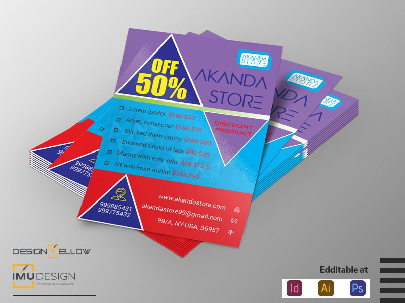 Discount Flyer / Print Design / Flyer Design portfolio navigation menu grid flat branding product print offer graphic discount design