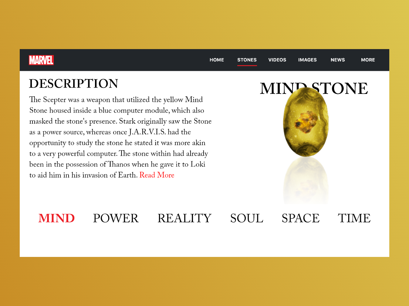 The Mind Stone | Marvel Web Design | Adobe XD inspiration minimal web  design user interface interaction interface design app concept design madewithxd adobe xd ui