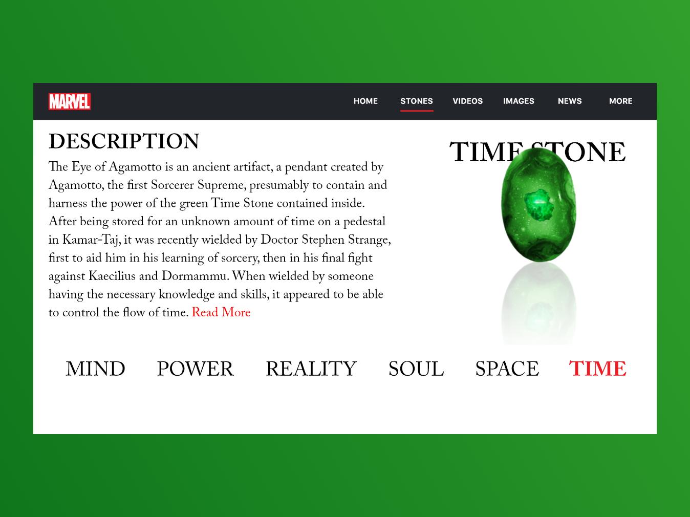 The Time Stone | Marvel Web Design | Adobe XD web design interface design inspiration experience design prototype illustration minimal interaction madewithxd design adobe xd ui