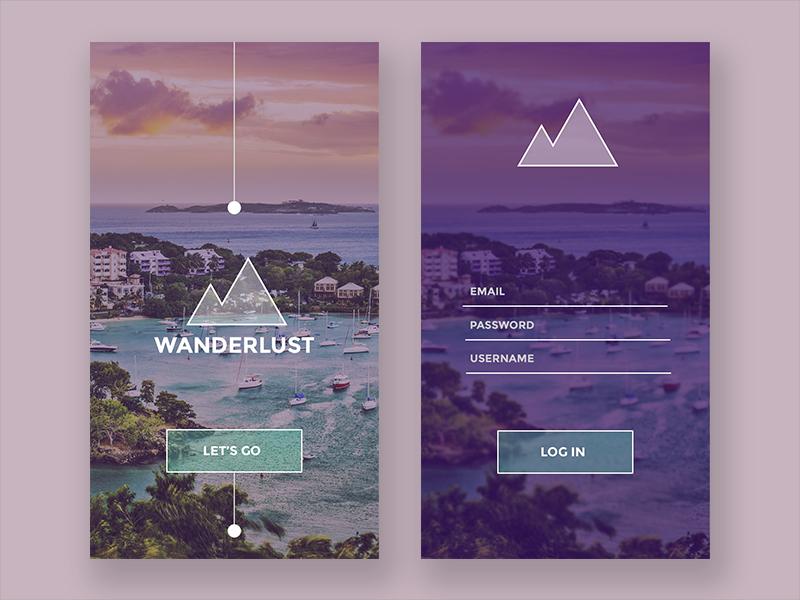100 Days of Travel UI - 01 Log In  app interaction minimal card login ux ui travel