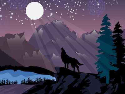 Pick and Howl colorado mountain web moon wolf illustration