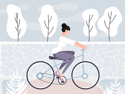 Spring ride pastel colorado cycling bicycle spring illustration
