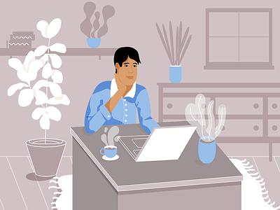 Working/not working hard product illustration illustration desk computer man working