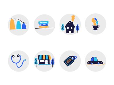 Debt management icon set ui icon illustration graph car financial debt