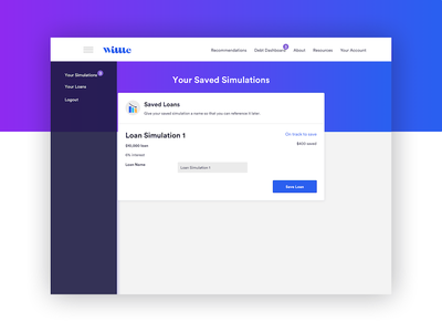Saving loan simulations web app card fintech financial loan