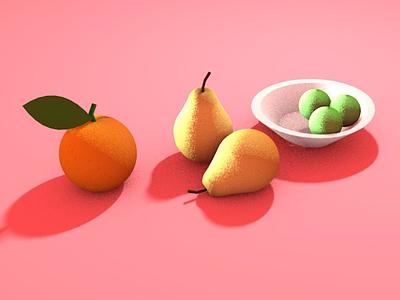 Juicy fruit cinema4d still life fruit illustration 3d