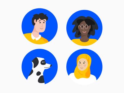 Character illustration minimalism dog illustration icons people avatars