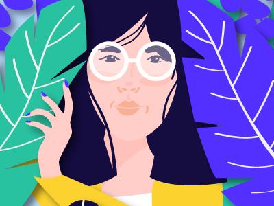 Peeking Through WIP editorial minimalism floral illustration portrait people avatars