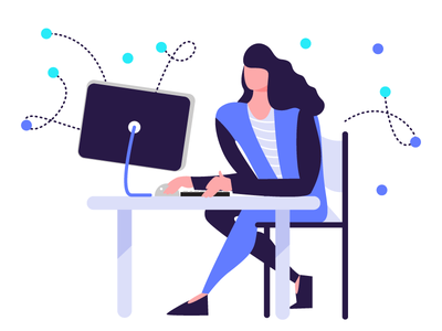 Managing health illustration exploration woman computer health health tech working data illustration