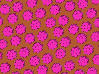Smiles pattern art pattern vector illustration flowers summer spring flower illustration flower smiley face smiley smile illustrator color design