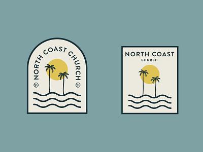 Summer Stickers waves stickers palm trees summer illustration minimalistic illustrator color branding design
