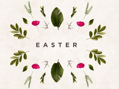 Easter christian design christian logo christian church branding church design church event church marketing color thorns palm branch palm leaf leaves spring flowers spring easter design easter flyer branding design easter