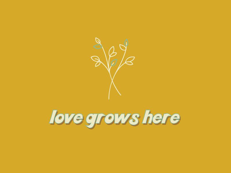 Love Grows Here designer yellow logo logo minimalism designs marketing color vector print design prints print branding design icons yellow typography minimalistic minimal illustrator branding design