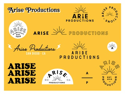 Arise designer sun logo design logotype filmmaker film productions production arise icon marketing typography illustrator vector logo minimalistic color branding design logos