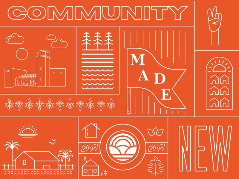 Collage house illustration vector minimalistic illustrator typography marketing color branding design print design print orange community