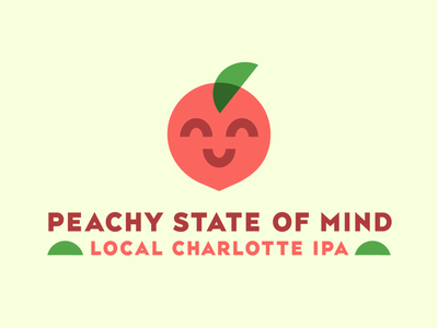Peachy State of Mind homebrewing local beer art beer label state of mind peachy happiness peach beer branding ipa beer can logo logo design