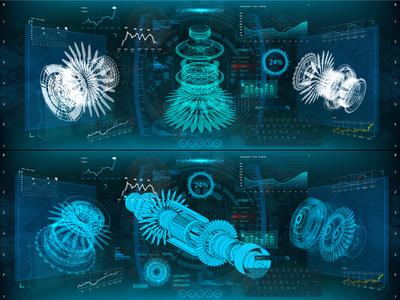 Gear engineering, 3D isometric. HUD UI design