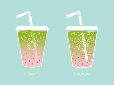 Strawberry Matcha iced latte ice cube procreate illustrator strawberry latte matcha drink vector drawing design illustration