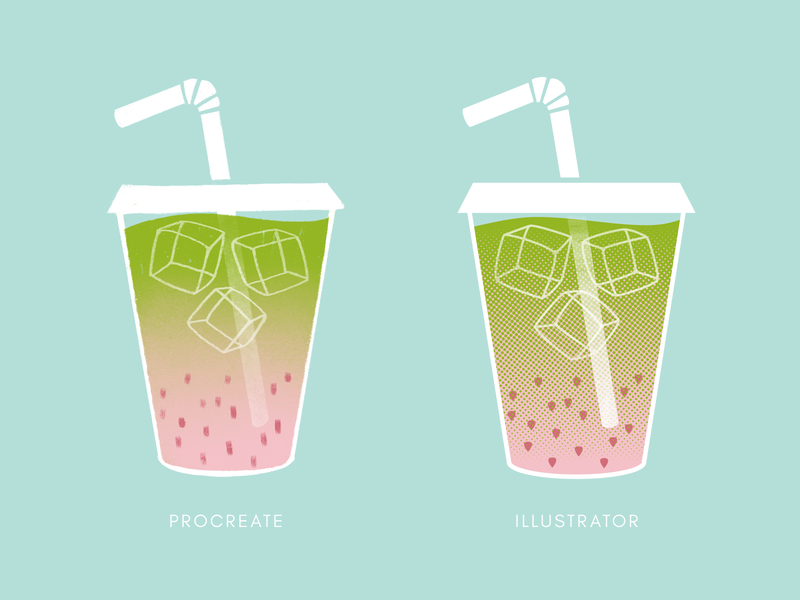 Strawberry Matcha iced latte ice cube procreate illustrator strawberry latte matcha drink vector drawing design illustration