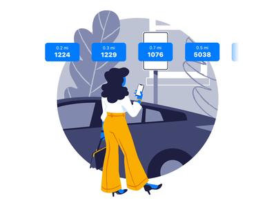 Onboarding Illustration - Animated woman sign parking flat fashion car ui design ux design motion design motion animation ux ui drawing passport vector illustration