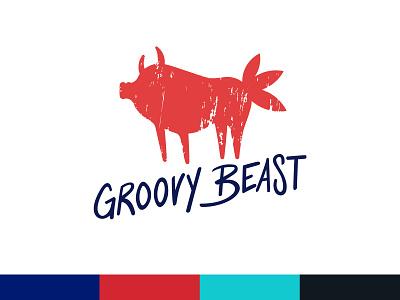 Groovy Beast identity design identity meat restaurant logo restaurant branding design logo design icon typography design vector branding logo illustration