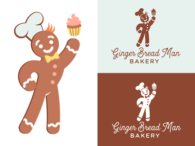 Ginger Bread Man Bakery typography illustration vector branding mascot cute baking bakery cookie gingerbread man gingerbread design logo