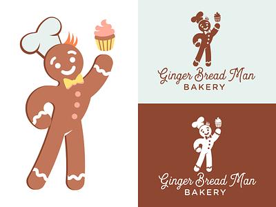 Ginger Bread Man Bakery typography illustration vector branding mascot cute baking bakery cookie gingerbread man gingerbread design logo