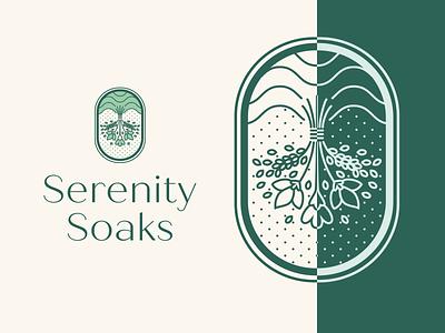Serenity Soaks Logo Design typography branding logo drawing vector design illustration