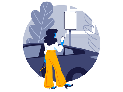 Onboarding Illustration parking sign fashion iphone woman car flat illustration