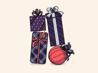 Passport's Holiday Card - Rough Draft logo art rough draft giving gifts presents holiday card passport illustration