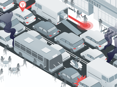 Curbside Congestion isometric vector passport urban digital geometric cars scooters curbside congestion traffic illustration