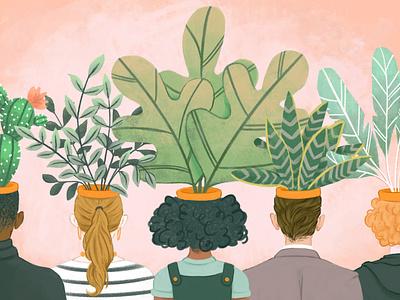 Potheads creative thinking originality art texture drawing houseplant plants creativity design illustration