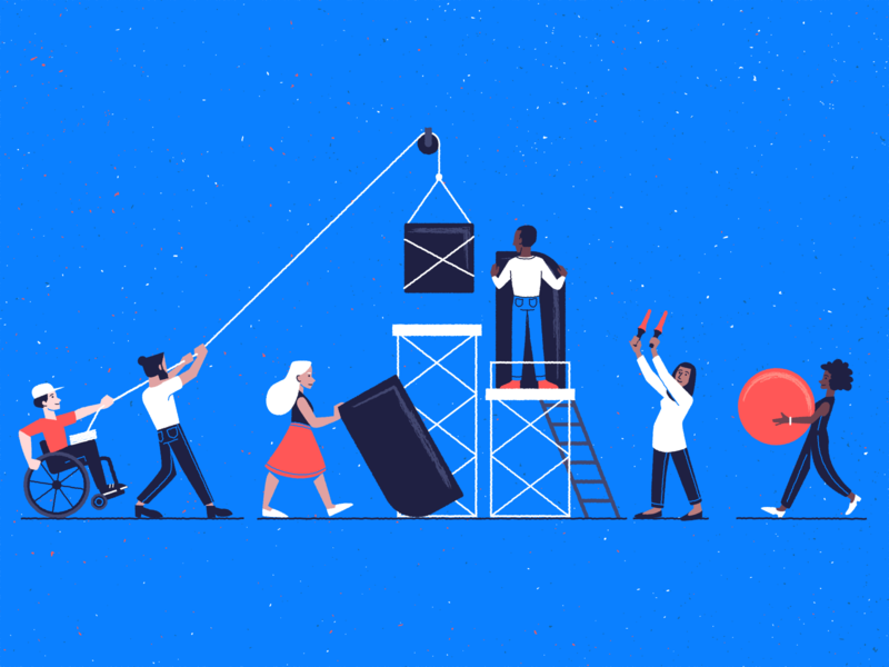 Building Blocks Part 2 logo conceptual company vector teamwork branding passport design illustration