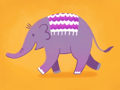 Elephant with Orchid Blanket yellow purple procreate elephant drawing illustration