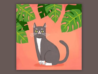 Gatsby digital digital painting drawing cat illustration